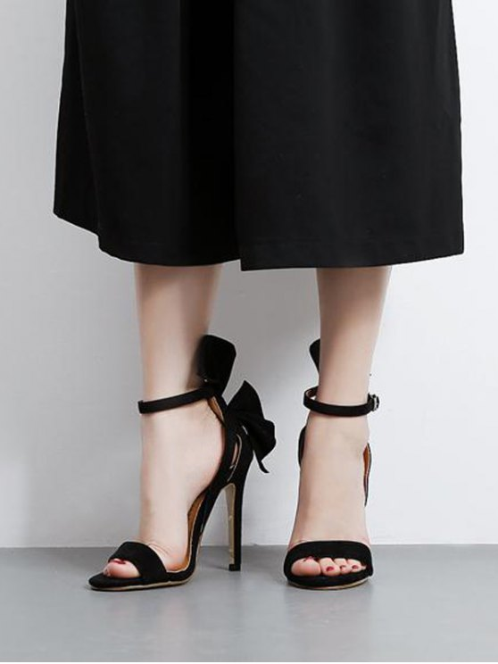 Ankle Strap Mini Heel Flower Sandals - BLACK 39 Mobile