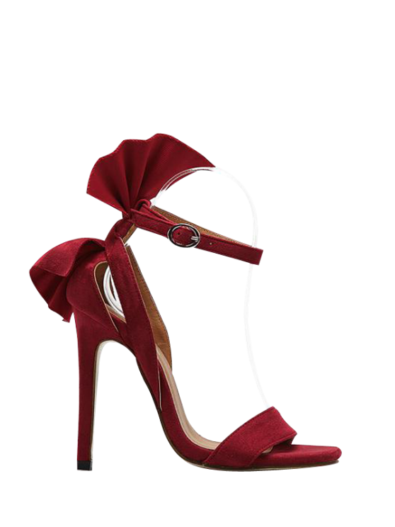 chic Ankle Strap Mini Heel Flower Sandals - RED 39