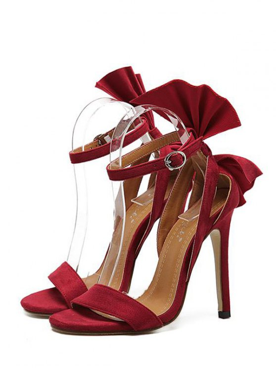 Ankle Strap Mini Heel Flower Sandals - RED 39 Mobile