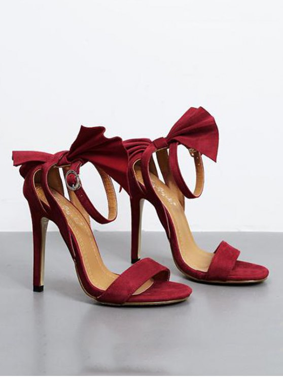 Ankle Strap Mini Heel Flower Sandals - RED 37 Mobile