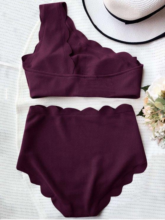 High Waisted Scalloped One Shoulder Bikini - MERLOT L Mobile