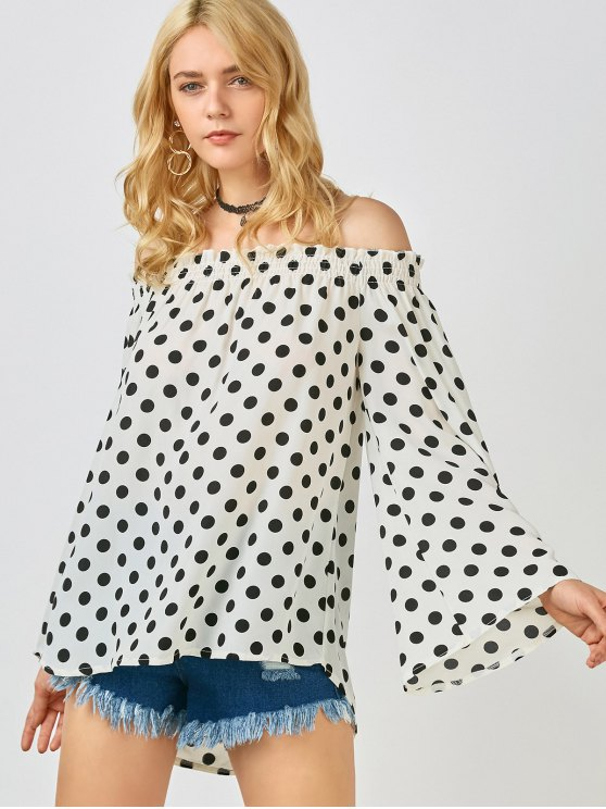 lady Polka Dot Off The Shoulder Top - WHITE M