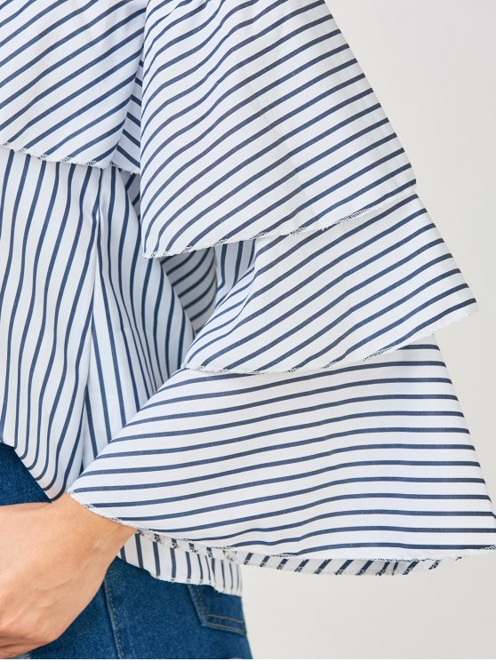 Frilly Off The Shoulder Top - BLUE AND WHITE XL Mobile