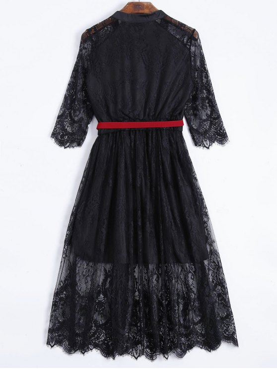 Buttoned Lace Dress With Belt - BLACK M Mobile
