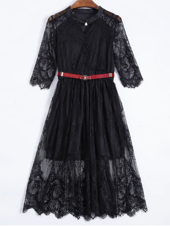 Buttoned Lace Dress With Belt - BLACK L Mobile