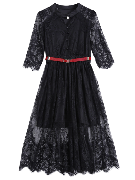 Buttoned Lace Dress With Belt - BLACK XL Mobile