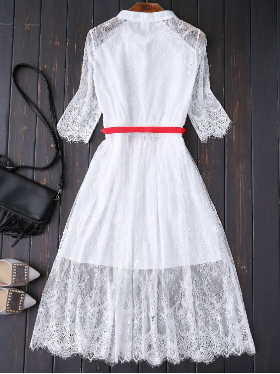 Buttoned Lace Dress With Belt - WHITE M Mobile
