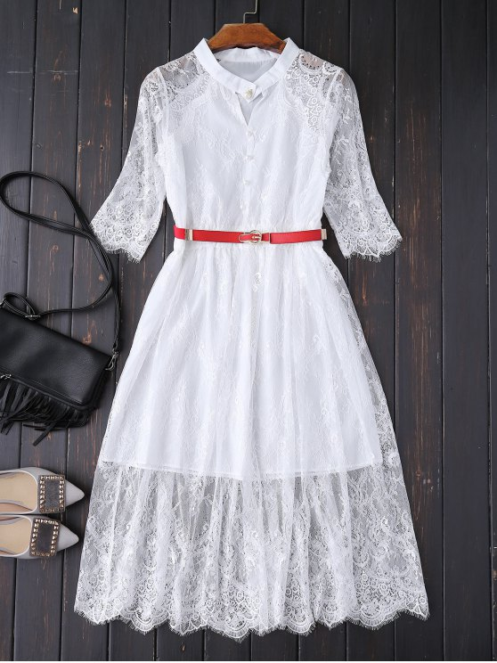 Buttoned Lace Dress With Belt - WHITE L Mobile
