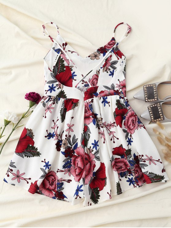 Crosscriss Floral Romper - WHITE L Mobile