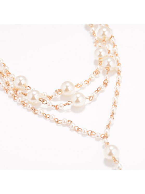 Artificial Pearl Beaded Anklet - GOLDEN  Mobile