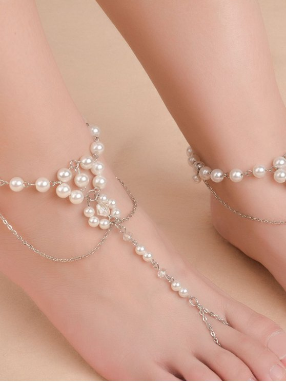 Artificial Pearl Beaded Chain Anklet - SILVER  Mobile