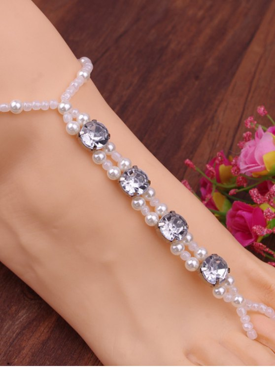 Rhinestone Faux Pearl Elastic Anklet - WHITE  Mobile