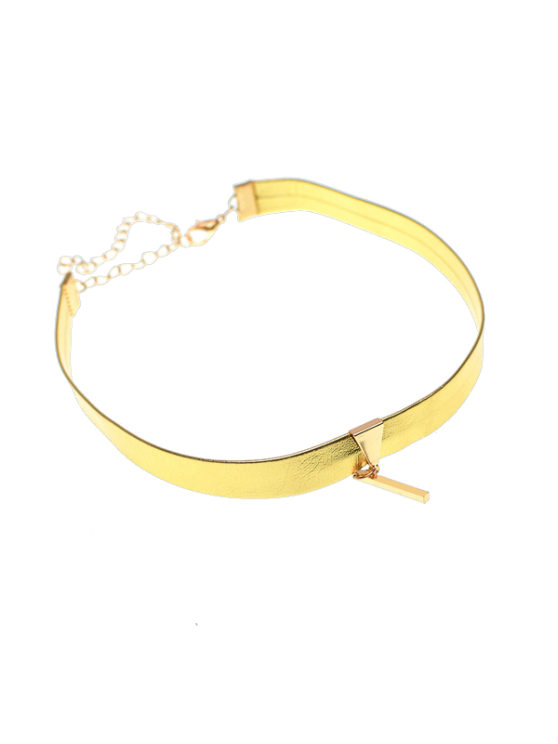 Artificial Leather Bar Choker Necklace - GOLDEN  Mobile