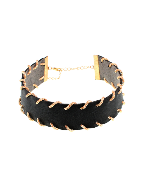 Alloy Artificial Leather Choker Necklace - BLACK  Mobile