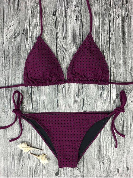 Rope Tie Side Square Plunge Bikini Set - ROSE MADDER S Mobile