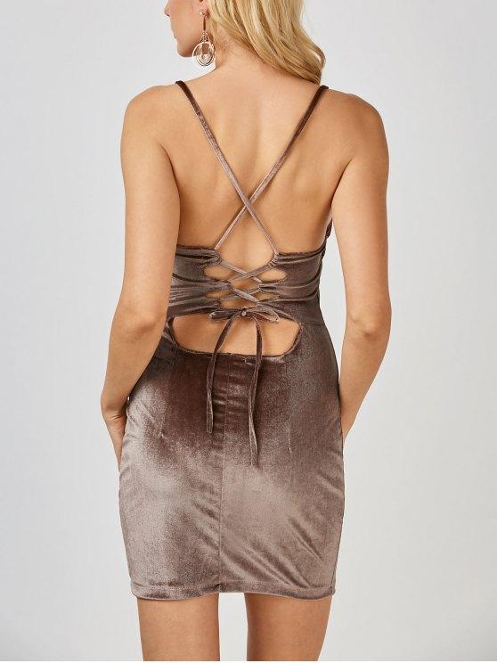 Mini Vestido Ceñido de Terciopelo con Espalda Cruzada - Café L