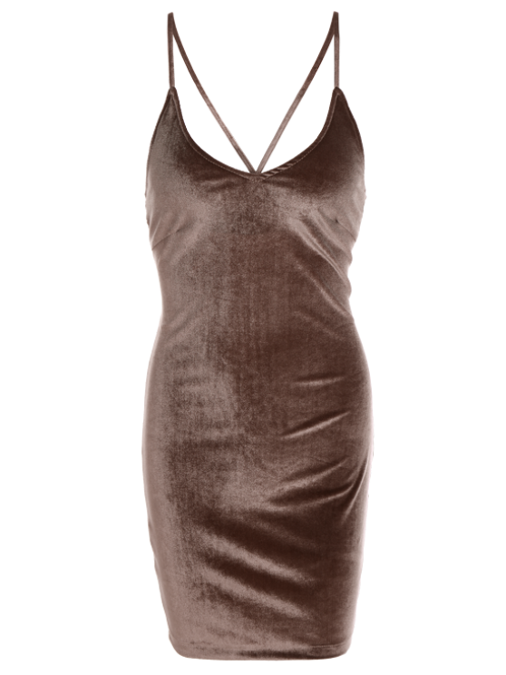 Velvet Cross Back Bodycon Mini Dress - COFFEE S Mobile
