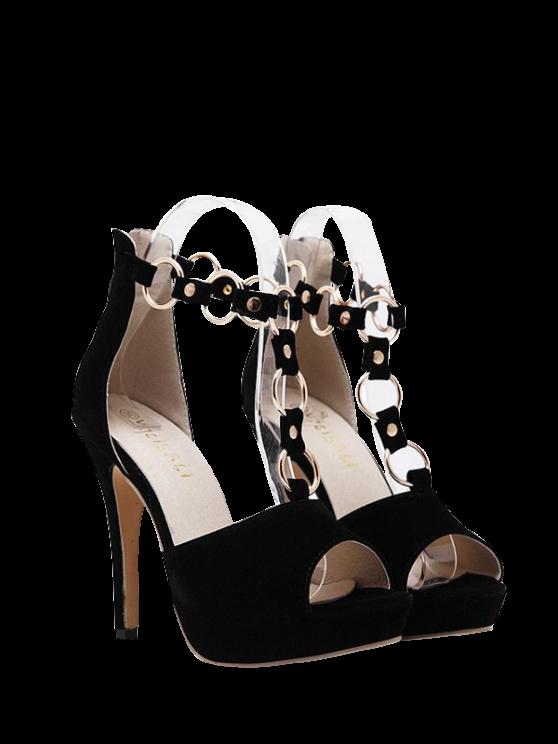 sale Metal Rings Peep Toe Zipper Sandals - BLACK 38