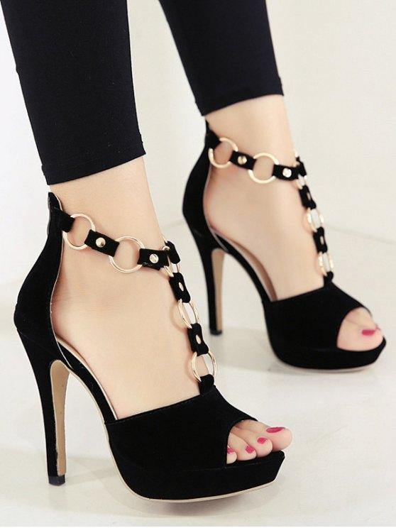 Metal Rings Peep Toe Zipper Sandals - BLACK 39 Mobile