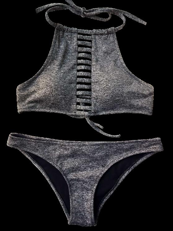Heathered Lace Up Bikini Set - GRAY S Mobile