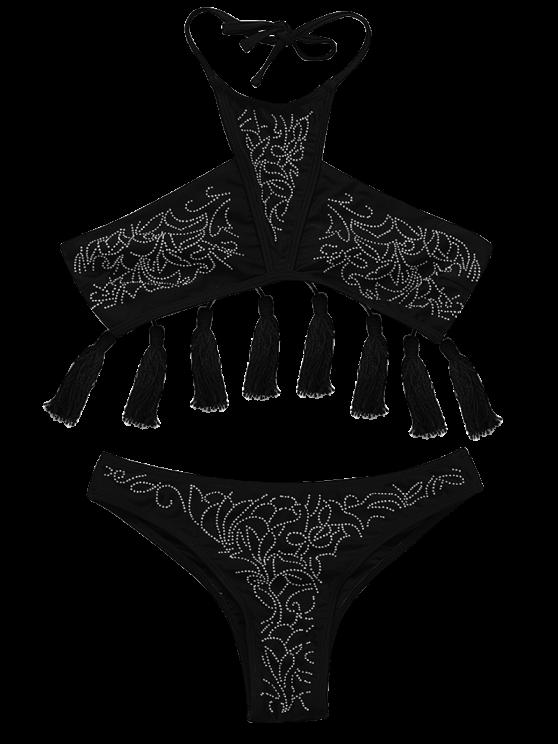 unique Beaded Halter Tassels Bikini Set - BLACK S