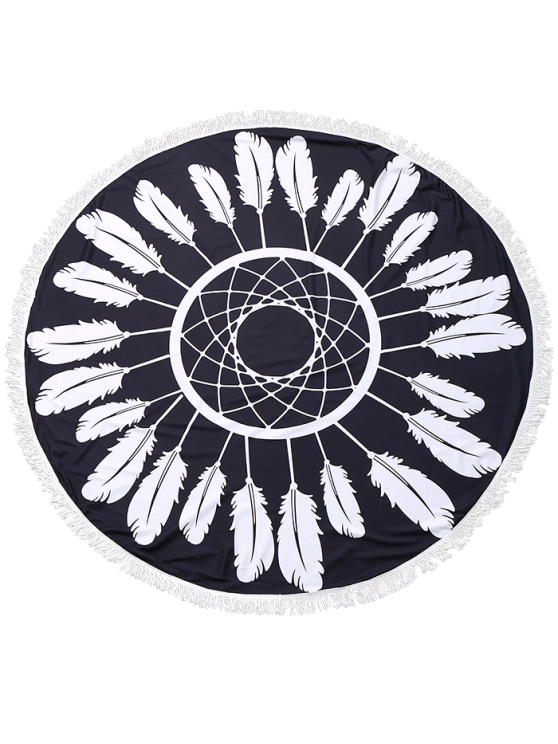 Round Plant Beach Throw With Tassels - BLACK ONE SIZE Mobile