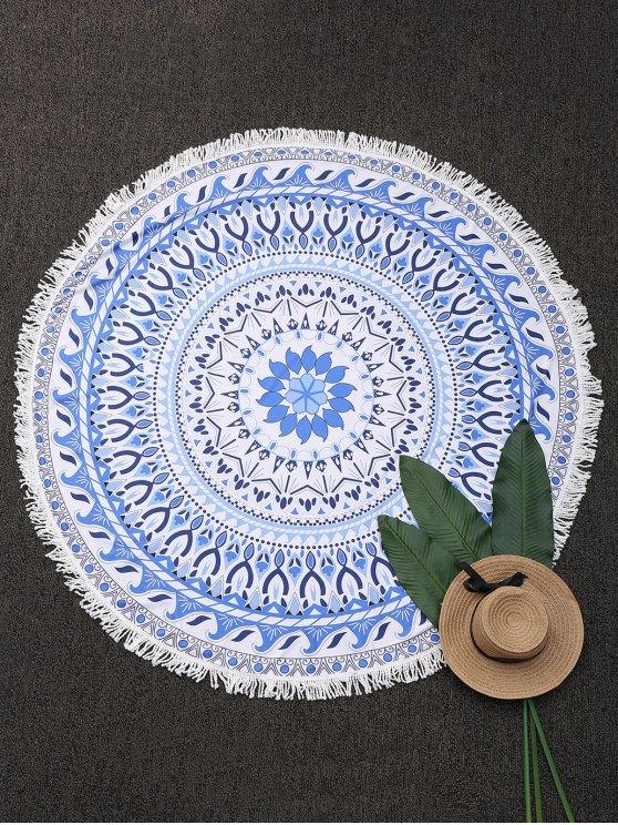 lady Round Paisley Fringe Beach Throw - BLUE ONE SIZE