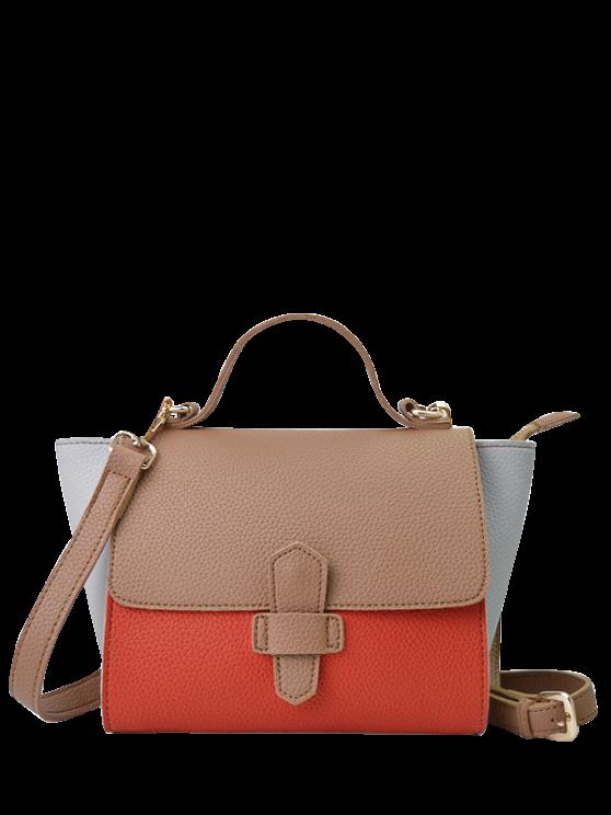 trendy Color Block Winged Handbag - BROWN