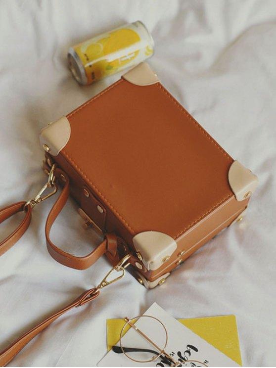 News Boy Embroidered Box Handbag - LIGHT BROWN  Mobile
