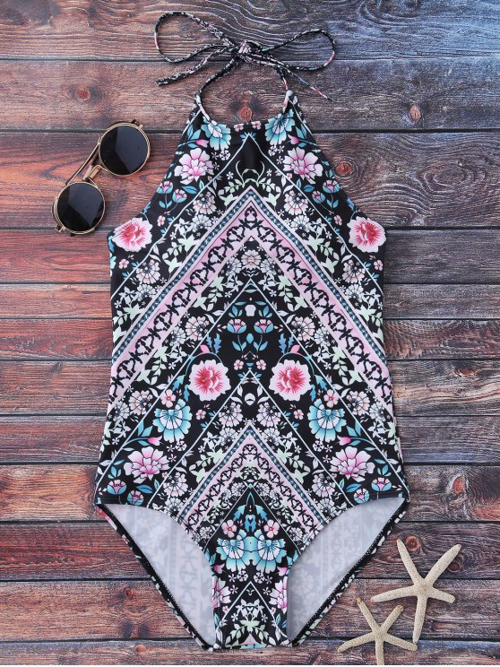 High Neck Tiny Floral Swimwear - FLORAL S Mobile
