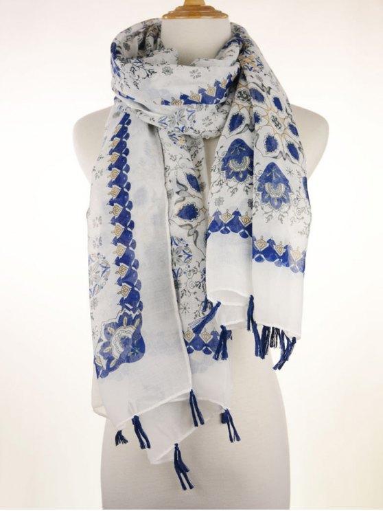 Flor Porcelana Impreso bufanda con flecos - Azul