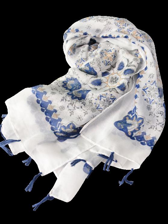 Flower Porcelain Printed Tassel Scarf - BLUE  Mobile