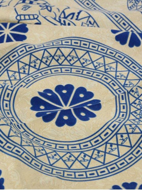 Geometric Elephant Print Tassel Scarf - BLUE  Mobile