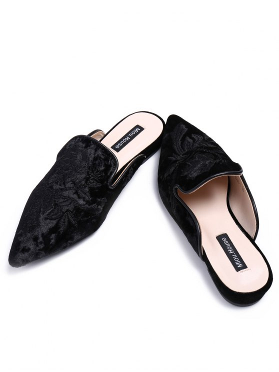 Pointed Toe Embroidered Velvet Flat Shoes - BLACK 37 Mobile