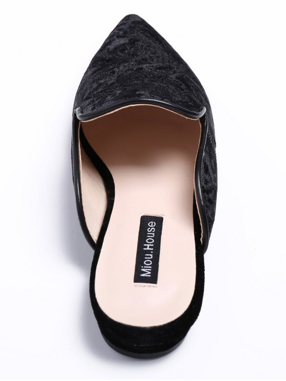 Pointed Toe Embroidered Velvet Flat Shoes - BLACK 38 Mobile