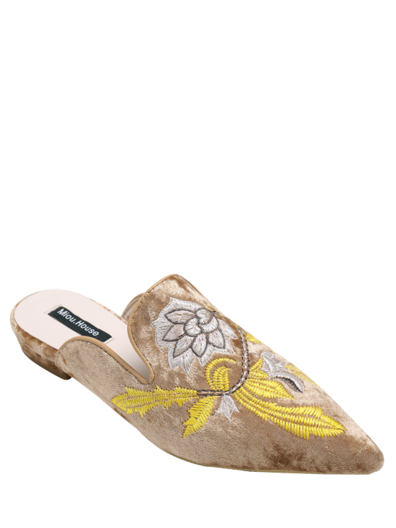 shop Pointed Toe Embroidered Velvet Flat Shoes - BROWN 40