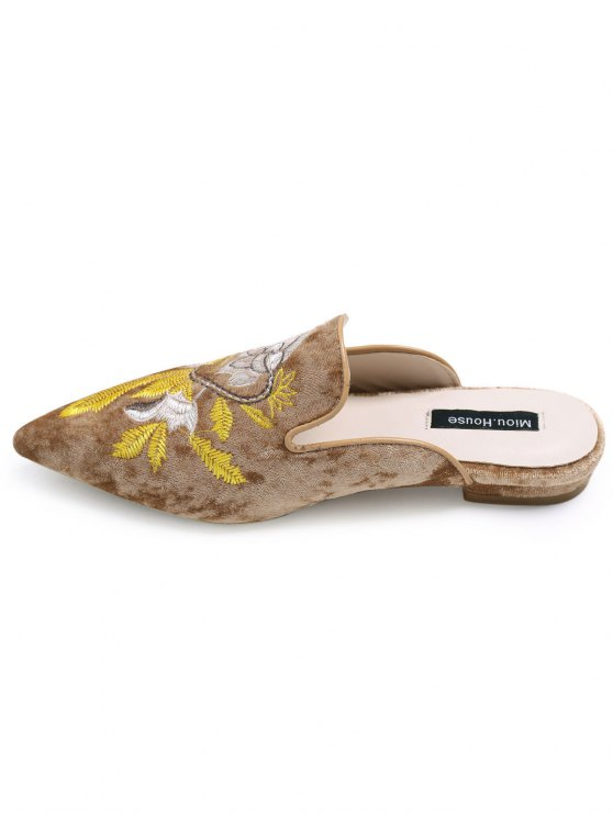 Pointed Toe Embroidered Velvet Flat Shoes - BROWN 40 Mobile