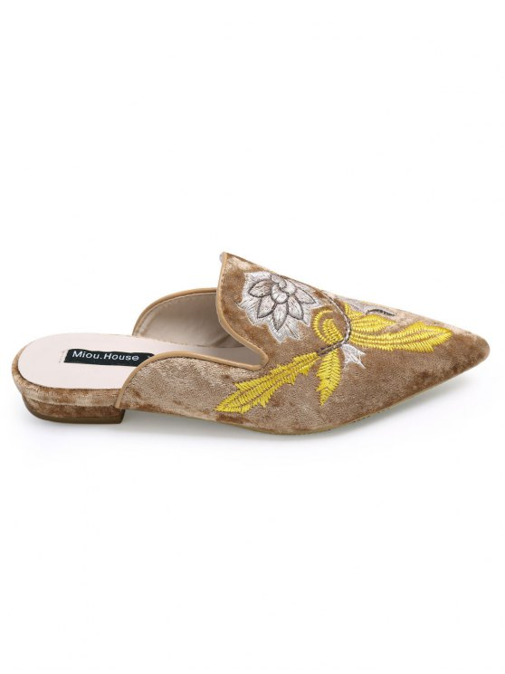 Pointed Toe Embroidered Velvet Flat Shoes - BROWN 37 Mobile