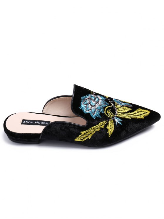Pointed Toe Embroidered Velvet Flat Shoes - BLUE 41 Mobile