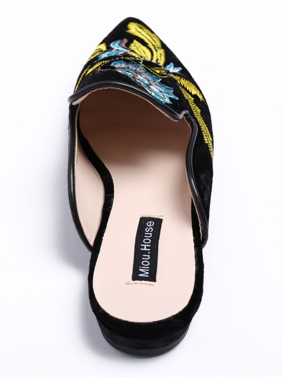 Pointed Toe Embroidered Velvet Flat Shoes - BLUE 37 Mobile