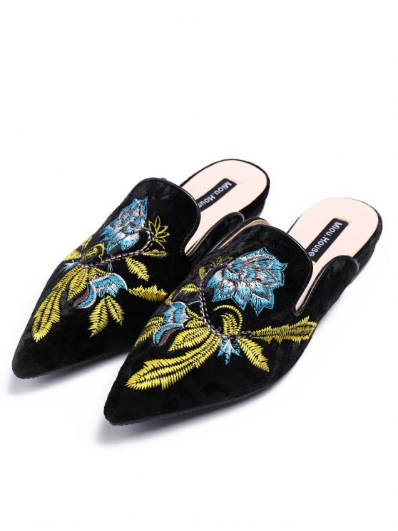 Pointed Toe Embroidered Velvet Flat Shoes - BLUE 38 Mobile