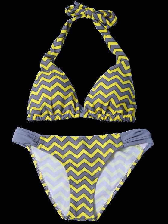 Ruched Bottom Zig Zag Bikini Set - YELLOW S Mobile