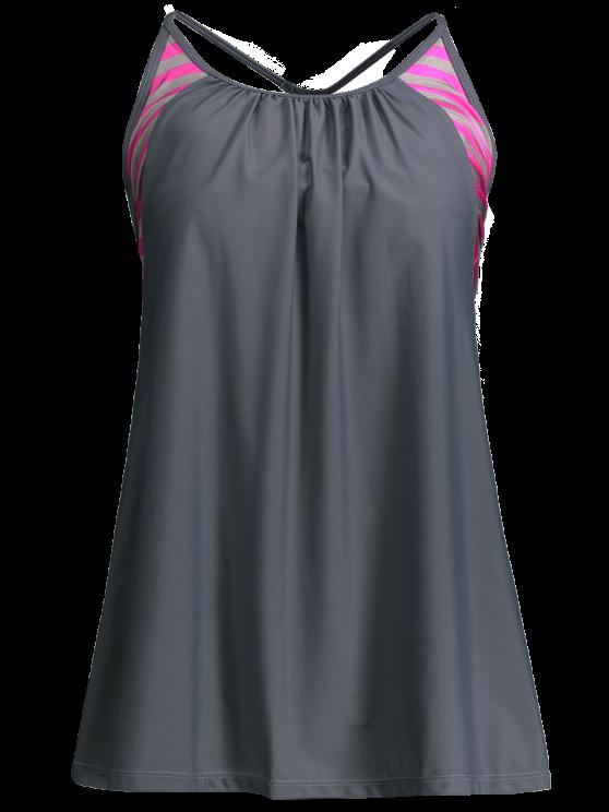Traje de baño con falda de rayas - Azul Gris M