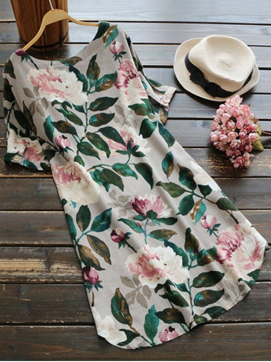 Casual Floral A-Line Dress - GREEN M Mobile