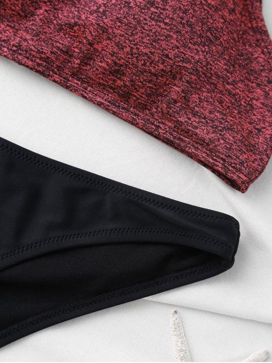 High Neck Padded Thong Bikini - BURGUNDY S Mobile