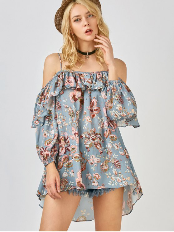 Frilly Printed Cold Shoulder Blouse - STONE BLUE S Mobile