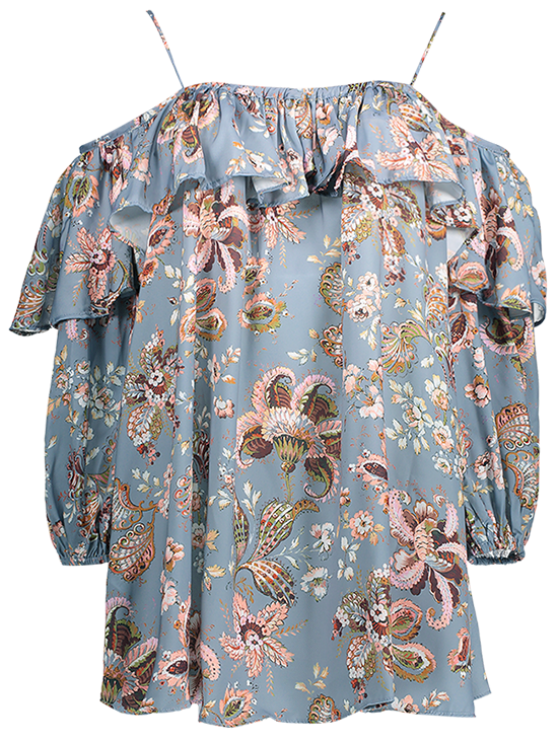 Frilly Printed Cold Shoulder Blouse - STONE BLUE M Mobile