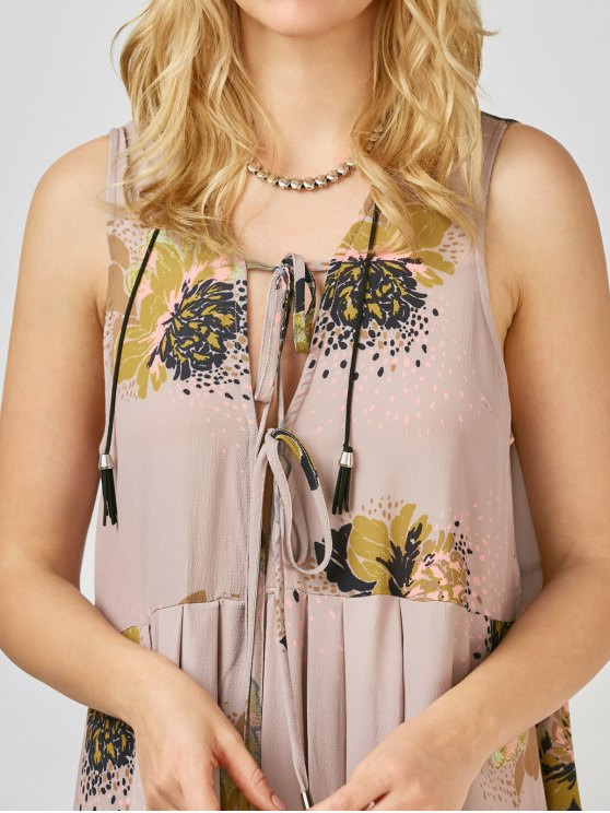Printed Tie Up Plunge Sundress - PALE PINKISH GREY M Mobile