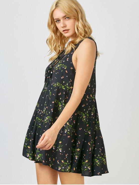 Mini Floral Chiffon Sun Dress - BLACK S Mobile