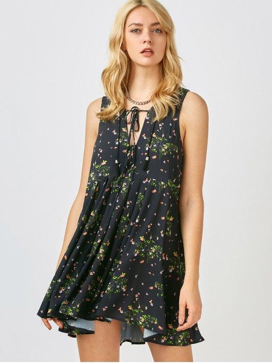 trendy Mini Floral Chiffon Sun Dress - BLACK S